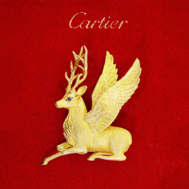 Exquisite Cartier 18k Solid Gold Holiday Winged Reindeer / Deer Stag Brooch 25Gr In Excellent Condition For Sale In Lauderdale by the Sea, FL