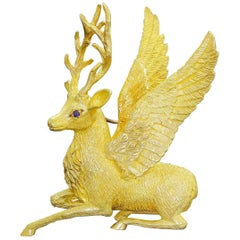 Exquisite Cartier 18k Solid Gold Holiday Winged Reindeer / Deer Stag Brooch 25Gr