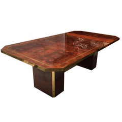 Exquisite Cedar Burl and Brass Dining Table by Jean Claude Mahey