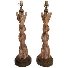 Exquisite Chapman Faux Bois Woven Branch Table Lamps