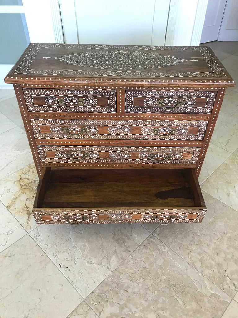 Exquisite Chest of Drawers with Bone Inlays and Marquetry Designs, 1970s For Sale 5