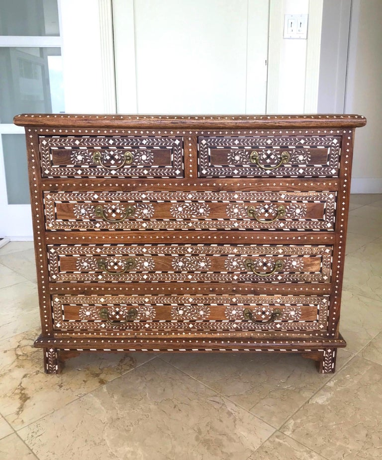 Moorish Exquisite Chest of Drawers with Bone Inlays and Marquetry Designs, 1970s For Sale