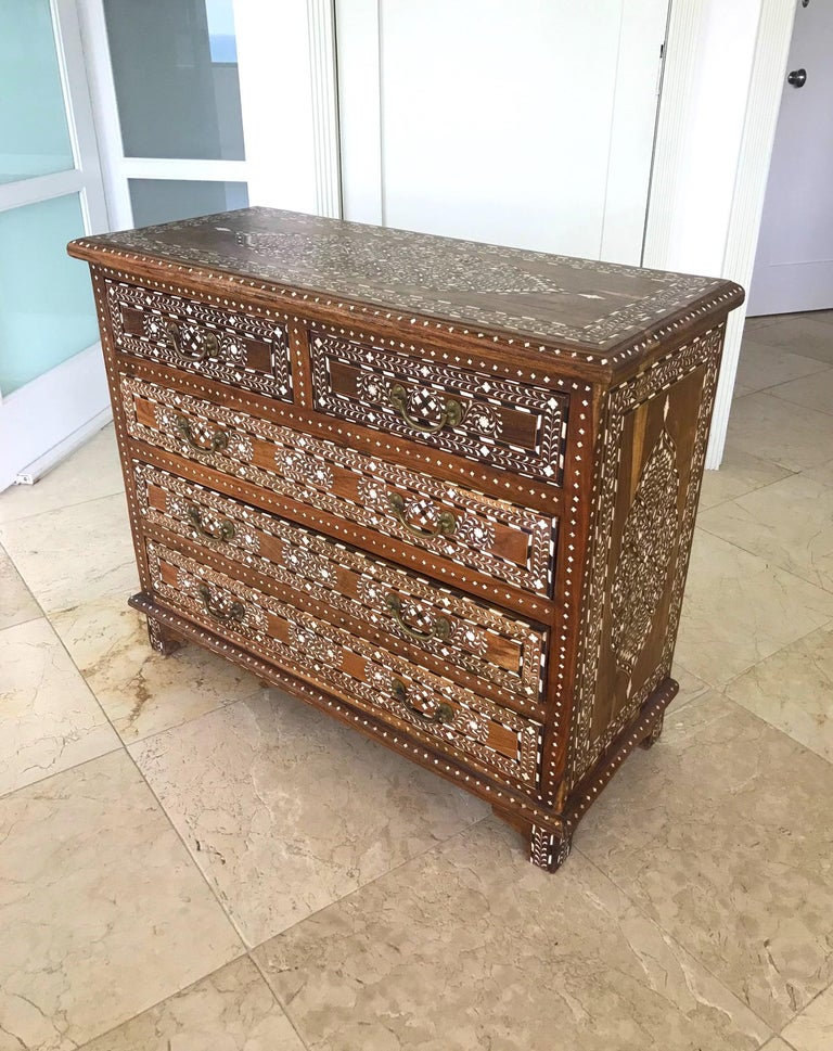 Moroccan Exquisite Chest of Drawers with Bone Inlays and Marquetry Designs, 1970s For Sale