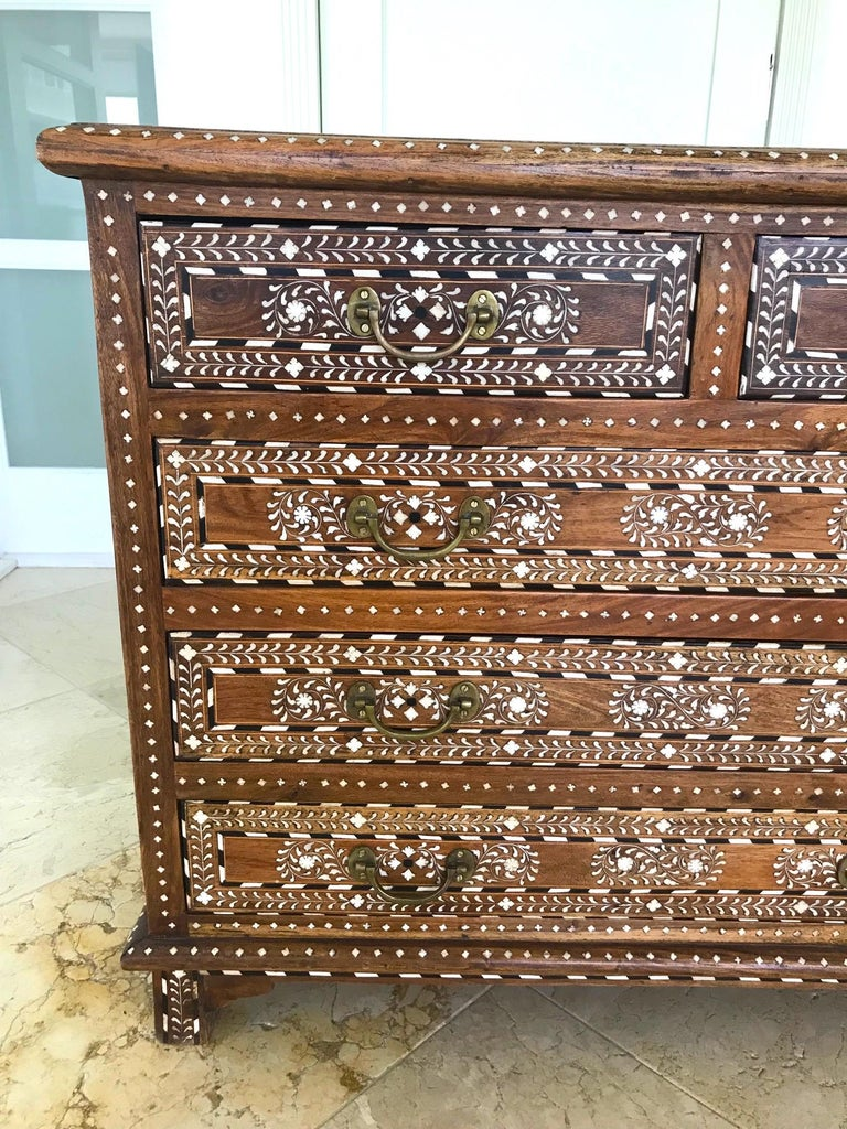 Hand-Crafted Exquisite Chest of Drawers with Bone Inlays and Marquetry Designs, 1970s For Sale