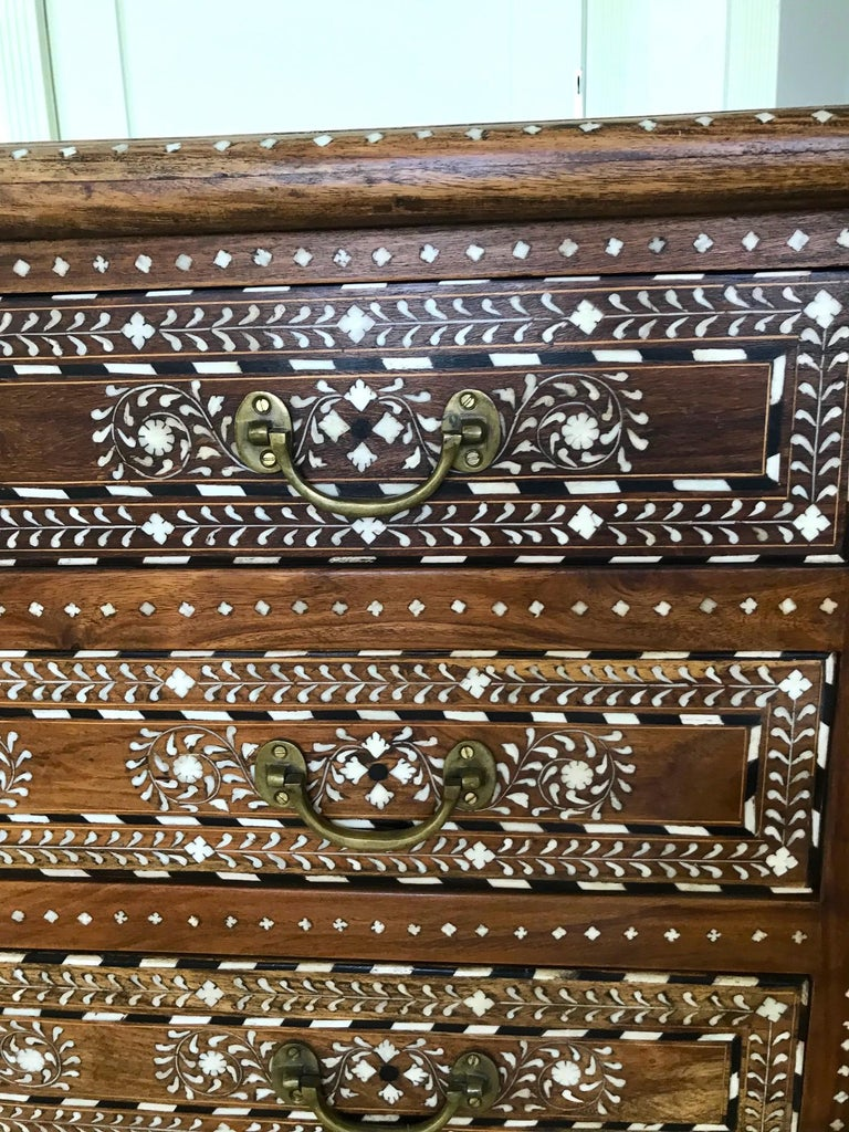 Exquisite Chest of Drawers with Bone Inlays and Marquetry Designs, 1970s For Sale 1