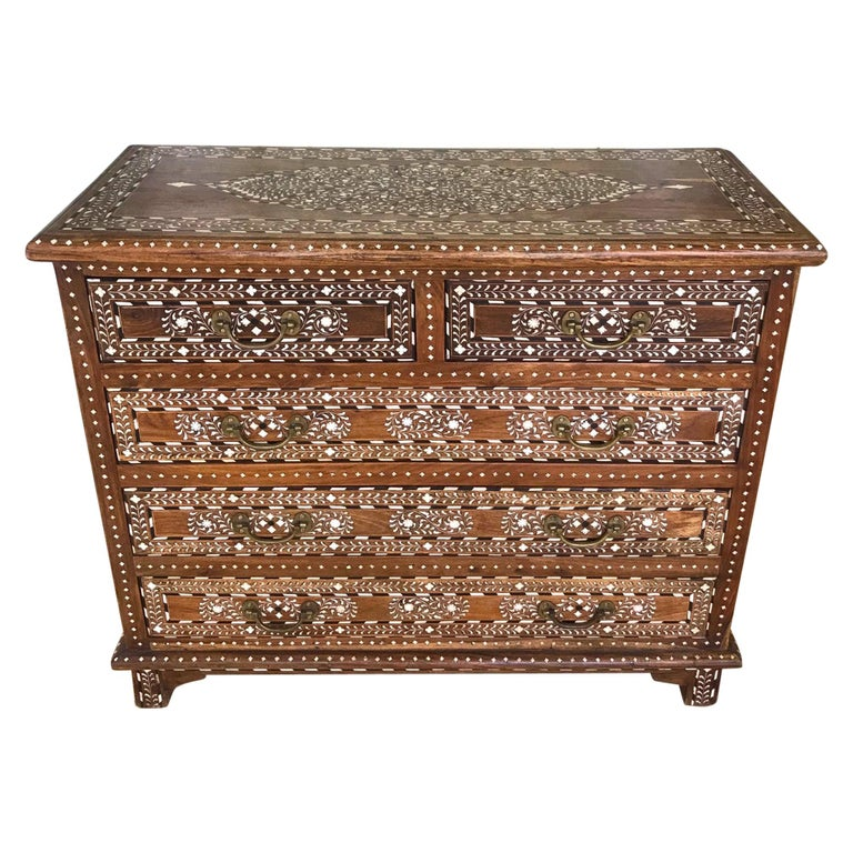 Exquisite Chest of Drawers with Bone Inlays and Marquetry Designs, 1970s For Sale