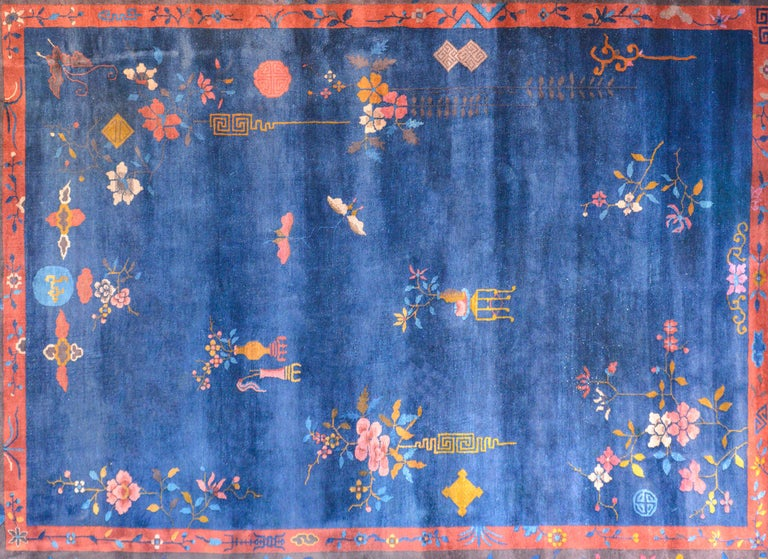 Vegetable Dyed Exquisite Chinese Art Deco Rug For Sale