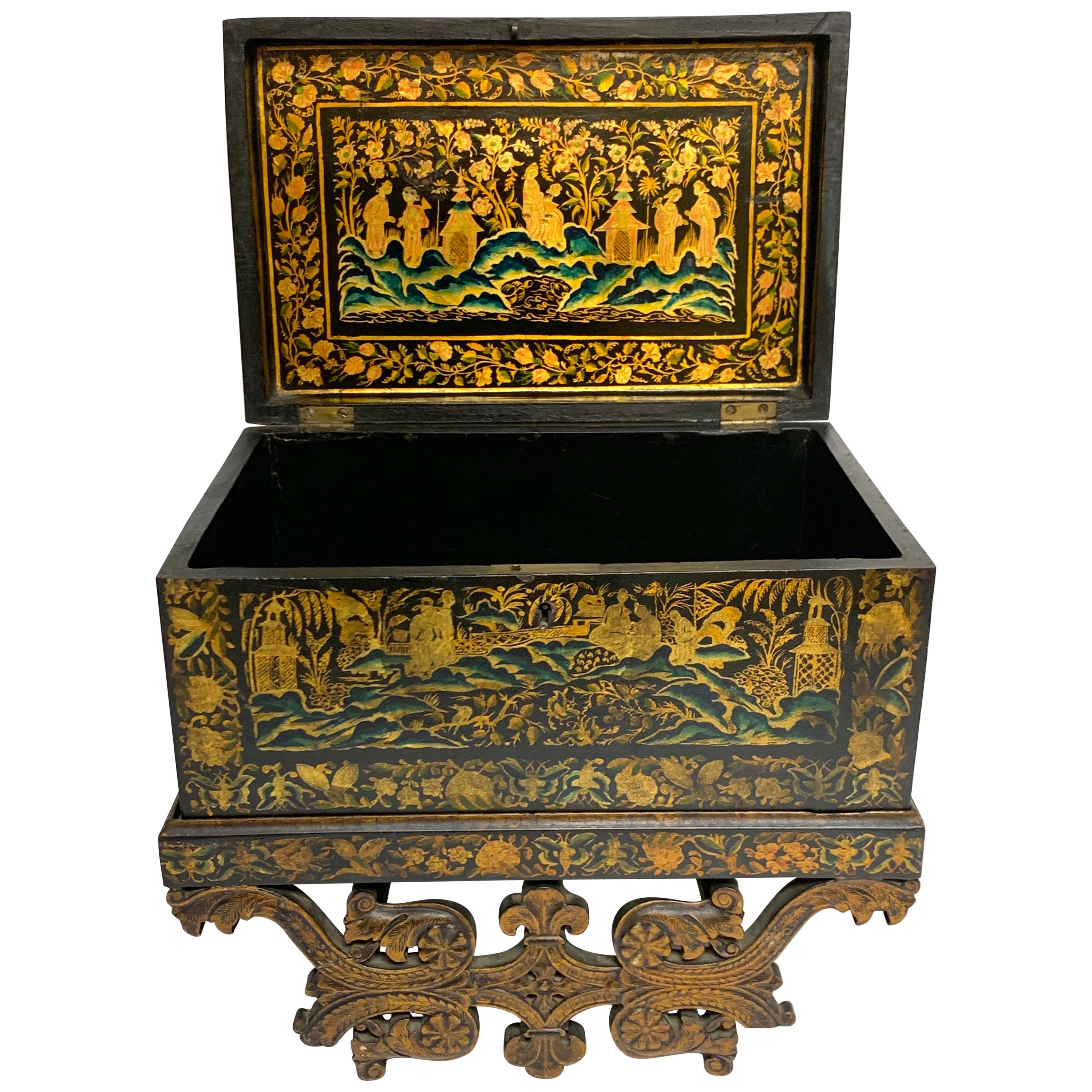 Exquisite Chinese Export Lacquer Box & Stand, circa 1820