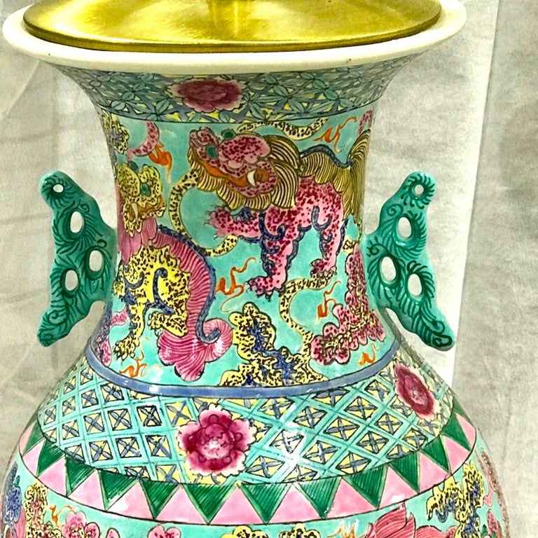 Chinese Export Exquisite Chinese Famille Rose Foo Dog Motif Vase, Now as a Lamp For Sale