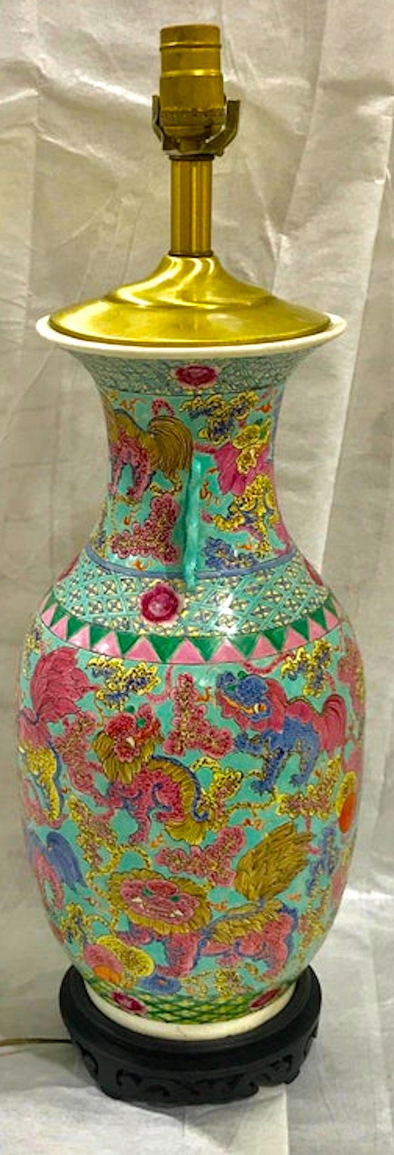 19th Century Exquisite Chinese Famille Rose Foo Dog Motif Vase, Now as a Lamp For Sale