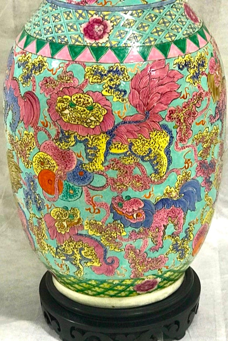 Brass Exquisite Chinese Famille Rose Foo Dog Motif Vase, Now as a Lamp For Sale