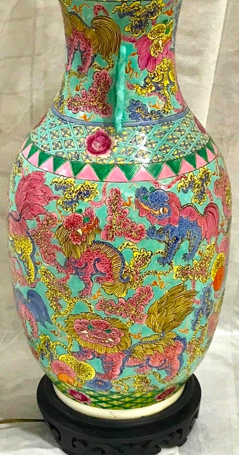 Exquisite Chinese Famille Rose Foo Dog Motif Vase, Now as a Lamp For Sale 1