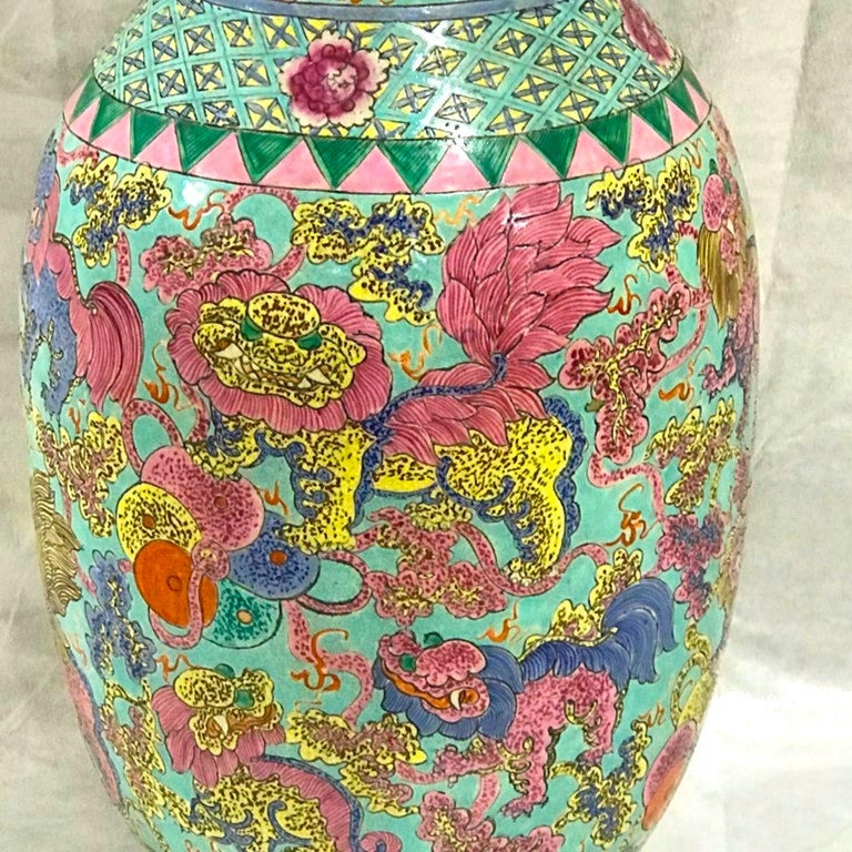 Exquisite Chinese Famille Rose Foo Dog Motif Vase, Now as a Lamp For Sale 2