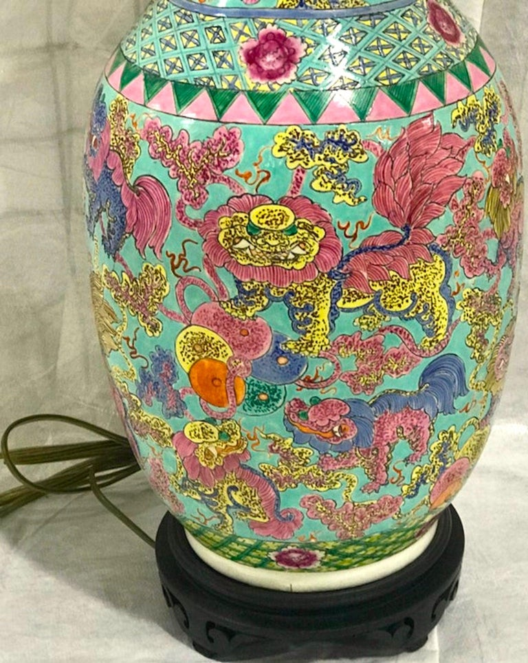 Exquisite Chinese Famille Rose Foo Dog Motif Vase, Now as a Lamp For Sale 3