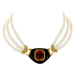 Exquisite Citrine, Ebony and Akoya Cultured Pearl Necklace