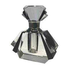 Exquisite, Classic Art Deco Black Crystal Perfume Bottle Flacon