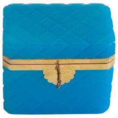 Exquisite Cut Blue Opaline Box, with Key