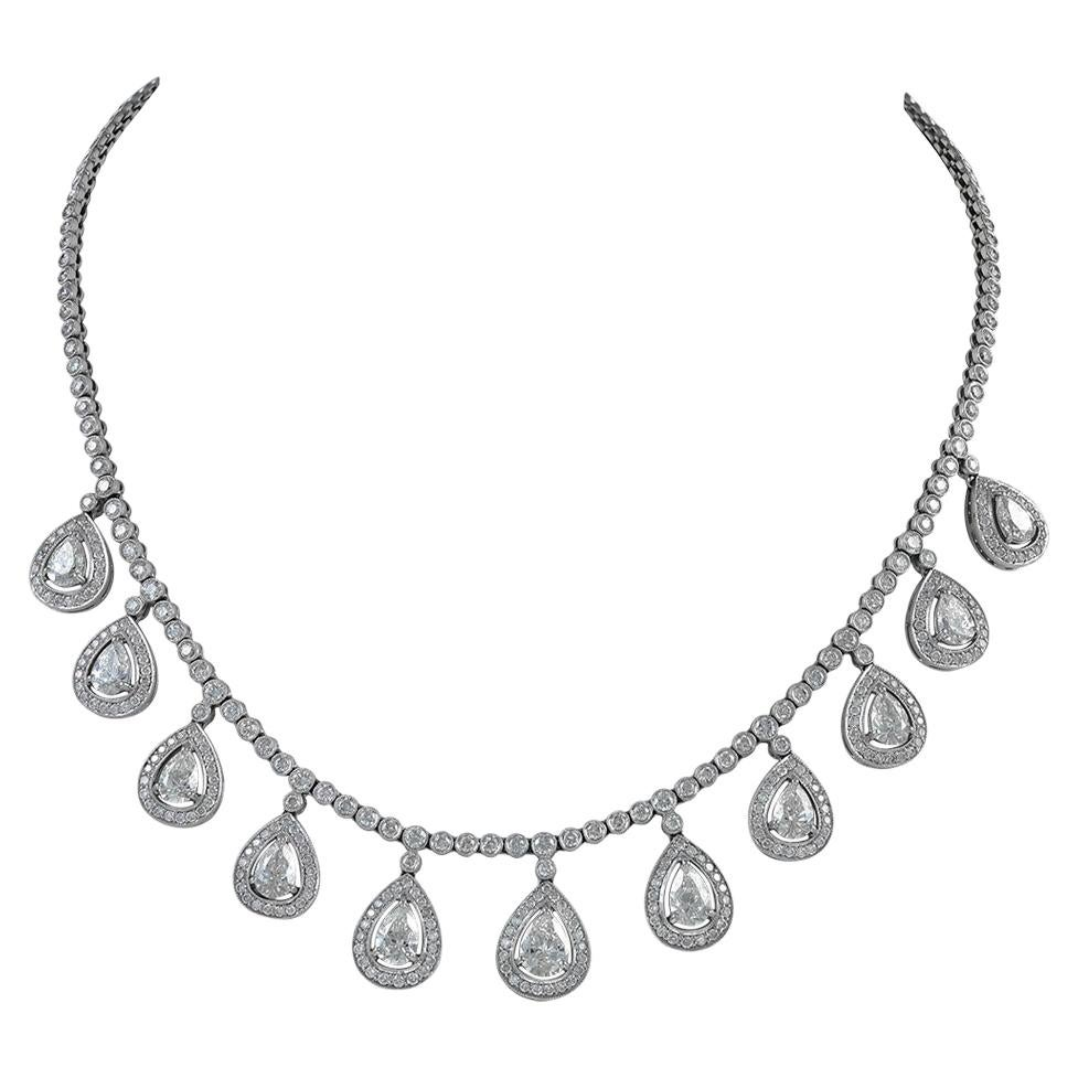 Exquisite Designed Platinum and 14.40 Carat Diamond with Pear Shaped Necklace