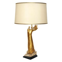 Exquisite Designer Giltwood Hand Form Table Lamp with Custom Shade