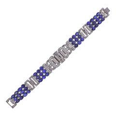 Exquisite Diamond Blue Sapphire Platinum Bracelet