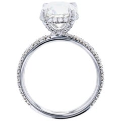 Exquisite Diamond Engagement Ring with Hidden Halo and Diamonds on the Legs