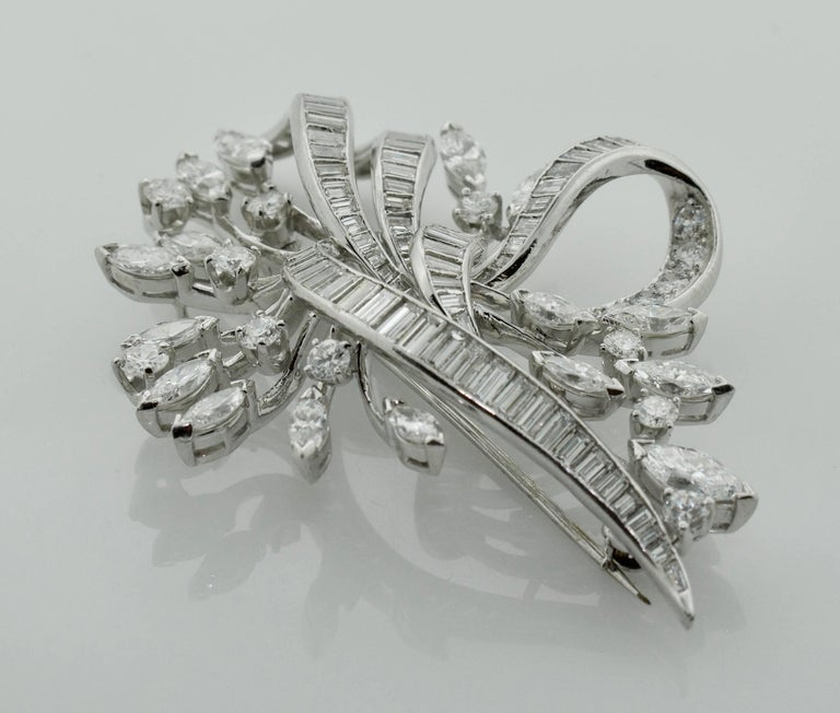 Marquise Cut Exquisite Diamond Platinum Brooch, circa 1940s For Sale