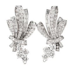 Exquisite Diamond Ribbon and Bow Omega Clip Platinum Earrings-Jackets