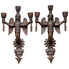 Exquisite Early 19th Century Neoclassical Carved Giltwood Sconces