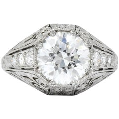 Exquisite Edwardian 2.55 Carat Diamond Platinum Engagement Ring GIA