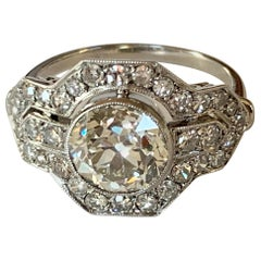 Exquisite Edwardian Platinum and Diamond 2.29 Carat (Engagement) Ring