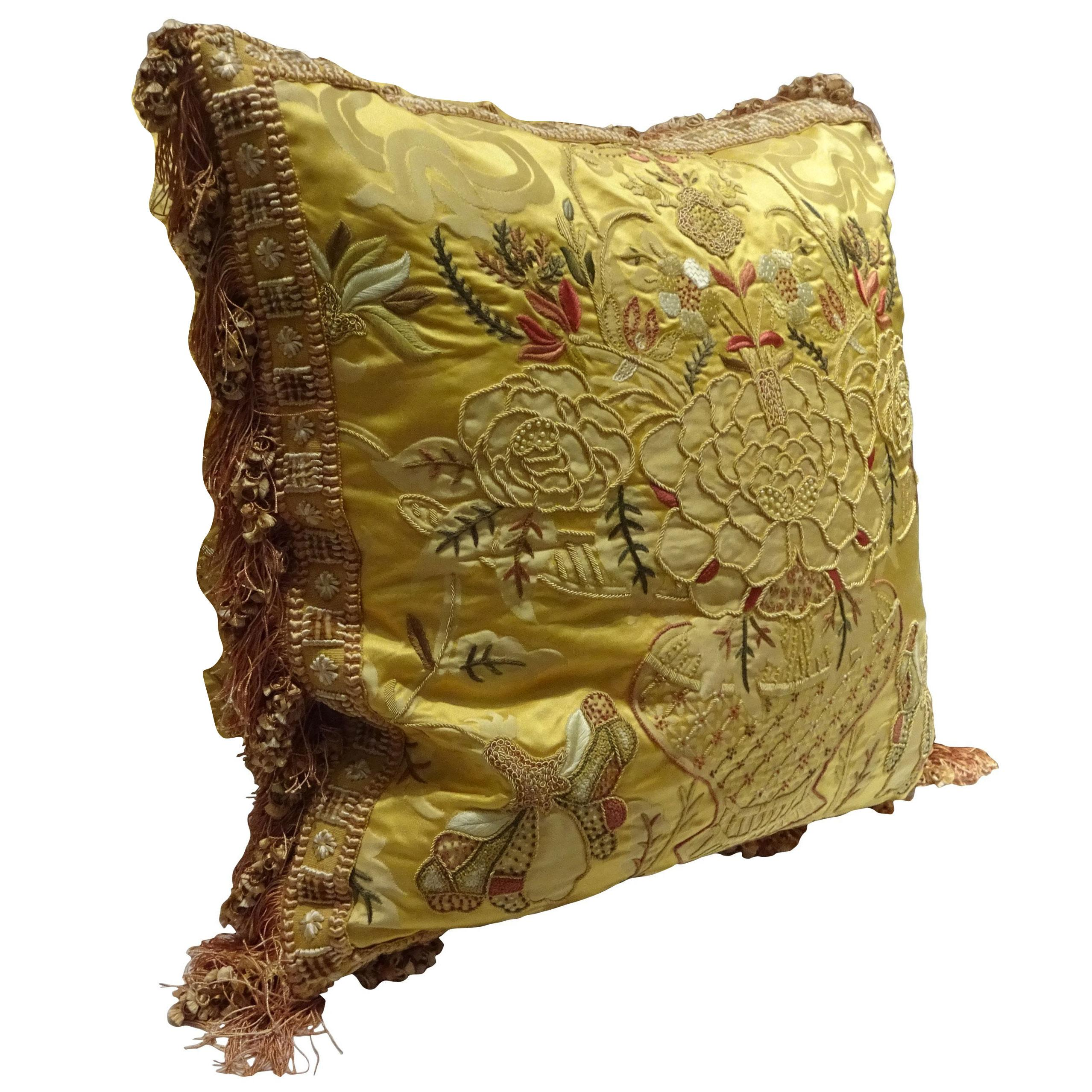 Exquisite Embroidered Pillow, Scalamandre Fabric