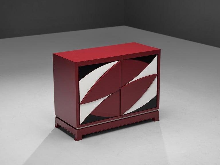 Belgian Exquisite Emiel Veranneman for DeCoene Decor 'Stereo' Sideboard in Magenta For Sale