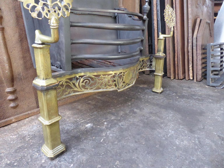 Exquisite English Art Nouveau Fireplace Grate, Fire Grate For Sale 8