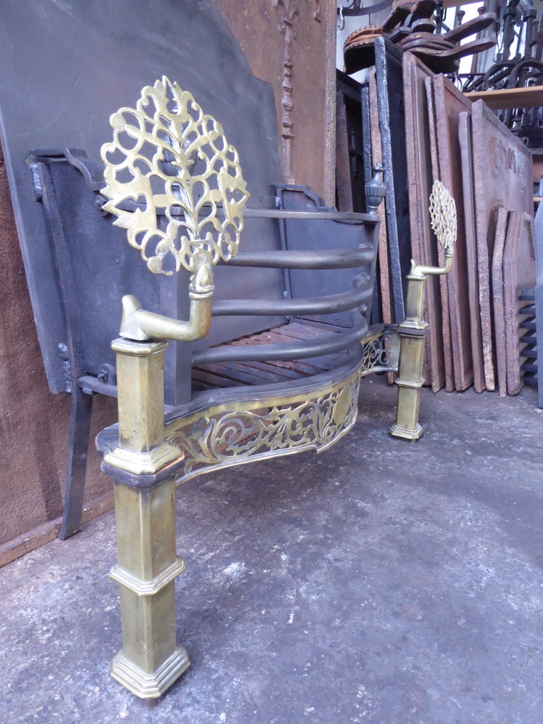 Exquisite English Art Nouveau Fireplace Grate, Fire Grate For Sale 10