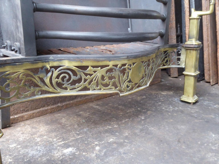 Exquisite English Art Nouveau Fireplace Grate, Fire Grate For Sale 1