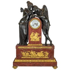Exquisite Figural Mantel Clock Retailed by Tiffany & Co. Signed Thomire