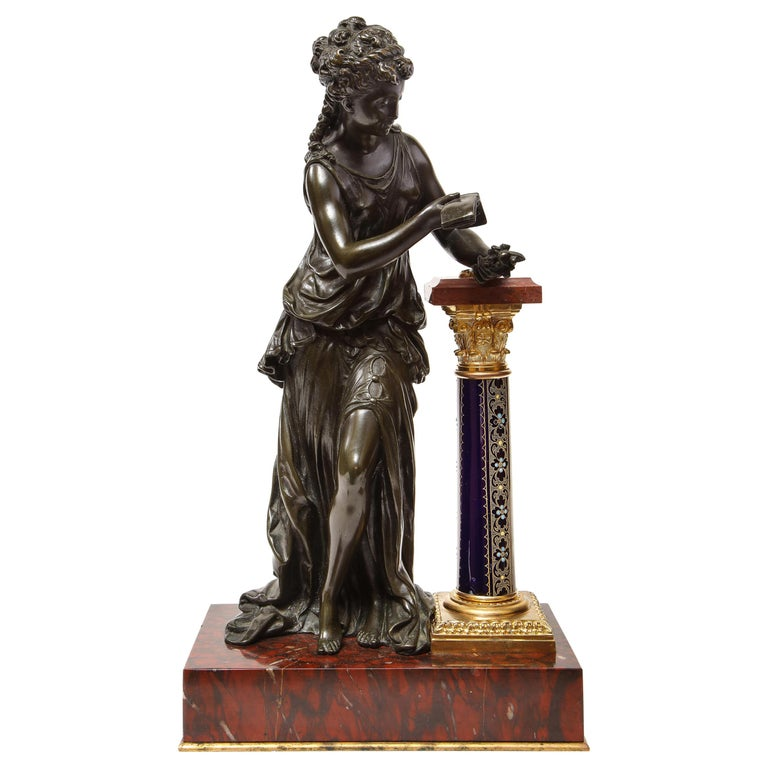 Exquisite French Bronze, Rouge Marble, and Sèvres Style Porcelain Sculpture For Sale