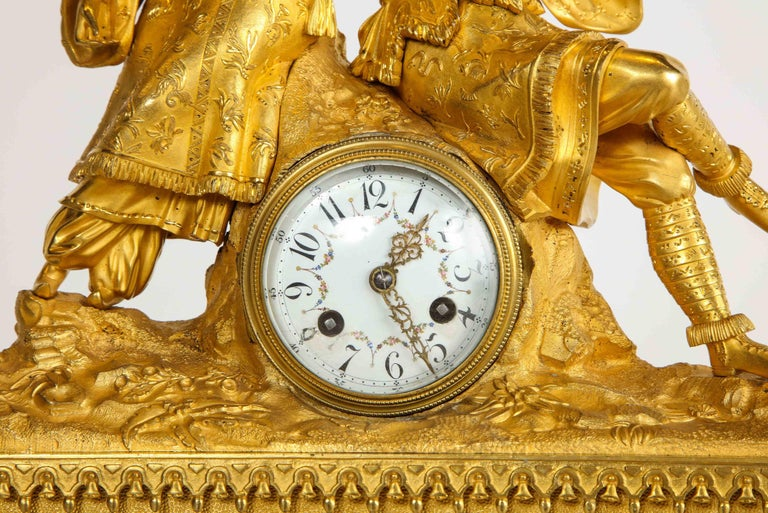 Exquisite French Charles X Ormolu Chinoiserie Figural Table Clock For Sale 5