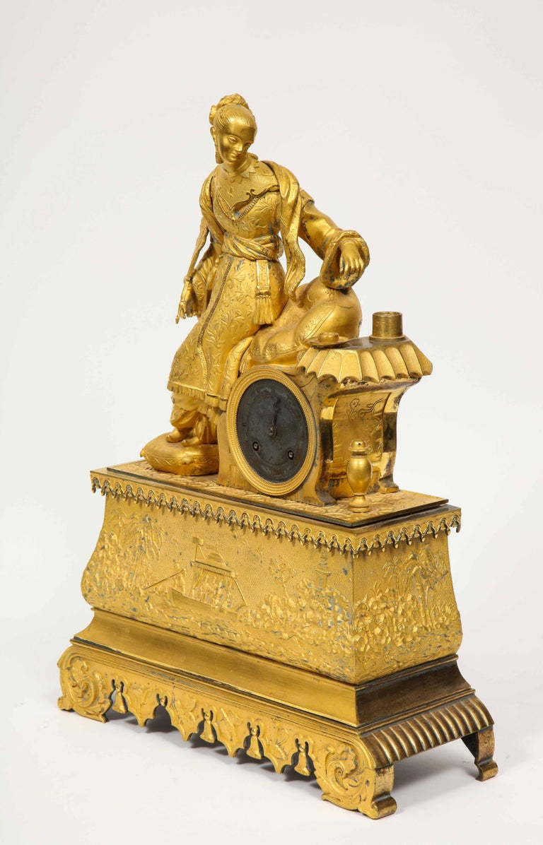 Exquisite French Charles X Ormolu Chinoiserie Figural Table Clock For Sale 7