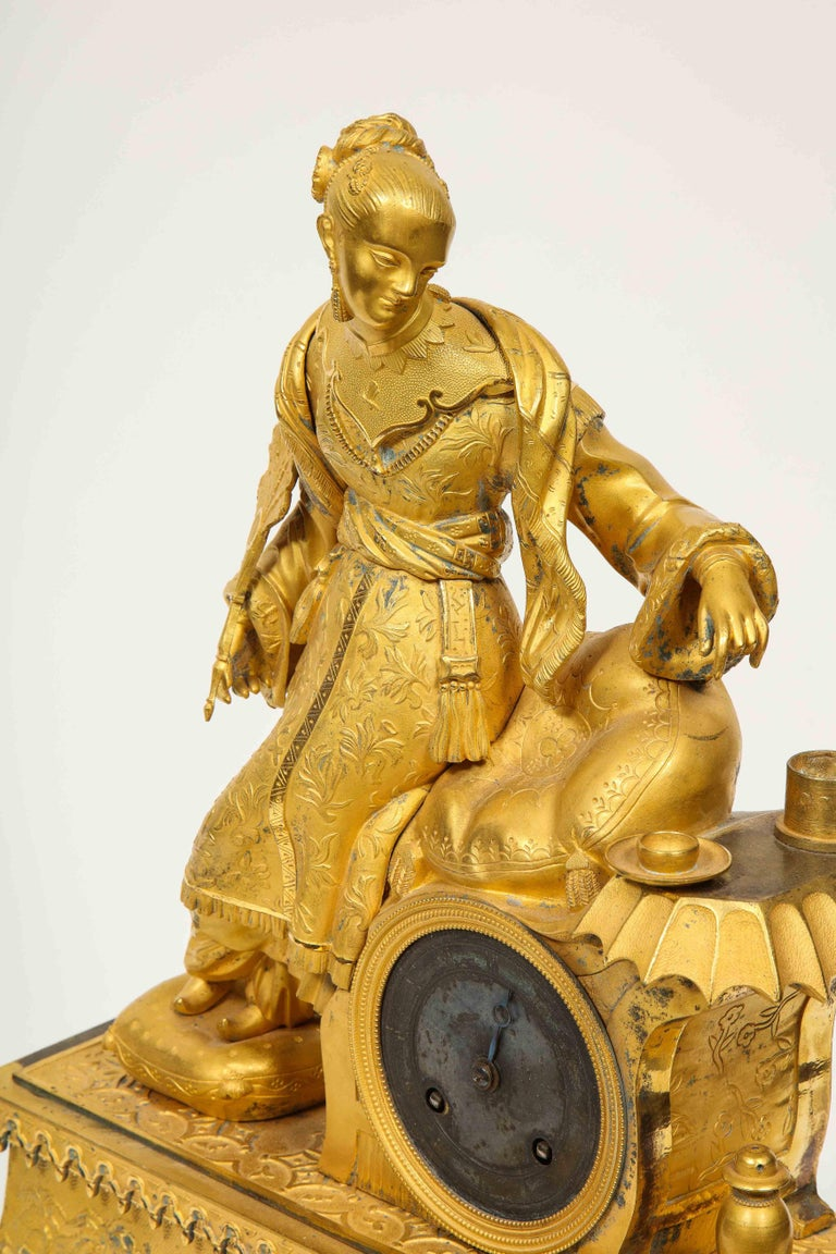 Exquisite French Charles X Ormolu Chinoiserie Figural Table Clock For Sale 8