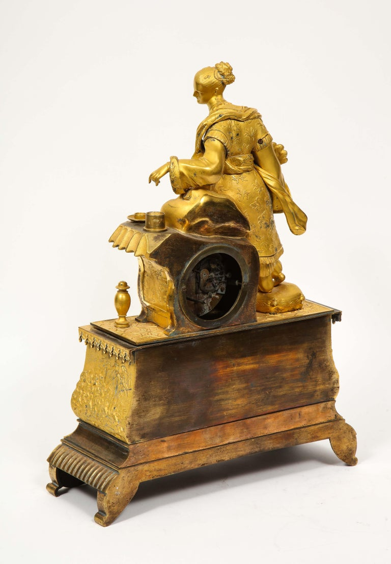 Exquisite French Charles X Ormolu Chinoiserie Figural Table Clock For Sale 10