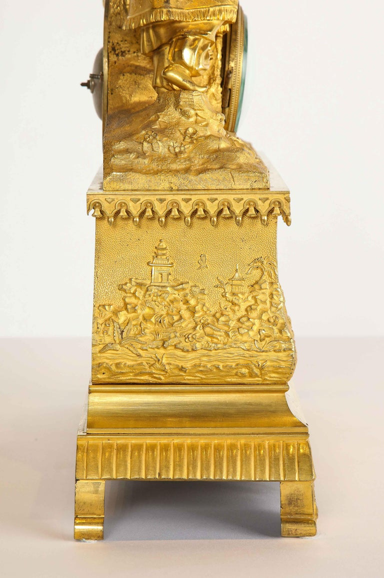 Exquisite French Charles X Ormolu Chinoiserie Figural Table Clock For Sale 9