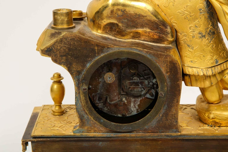 Exquisite French Charles X Ormolu Chinoiserie Figural Table Clock For Sale 12