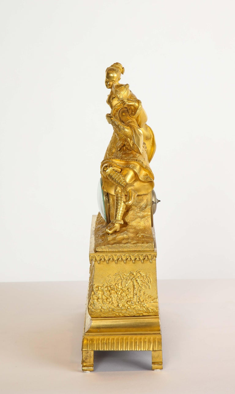 Exquisite French Charles X Ormolu Chinoiserie Figural Table Clock For Sale 11