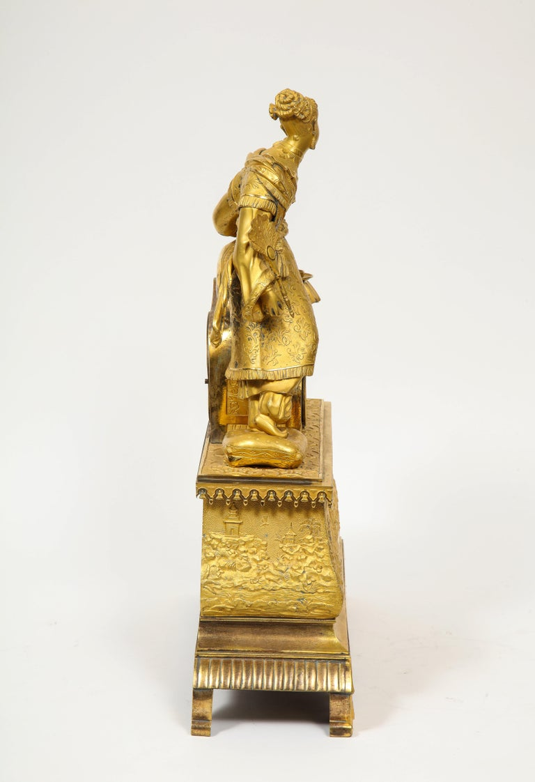 Exquisite French Charles X Ormolu Chinoiserie Figural Table Clock For Sale 13
