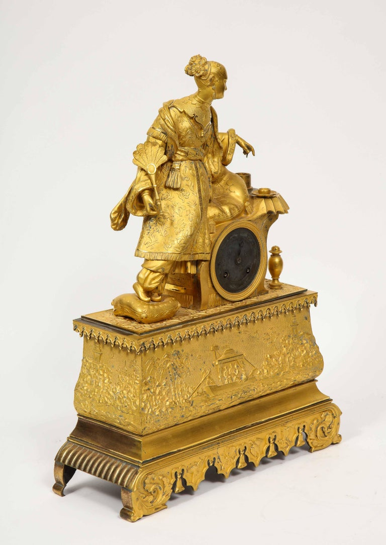 Exquisite French Charles X Ormolu Chinoiserie Figural Table Clock For Sale 15