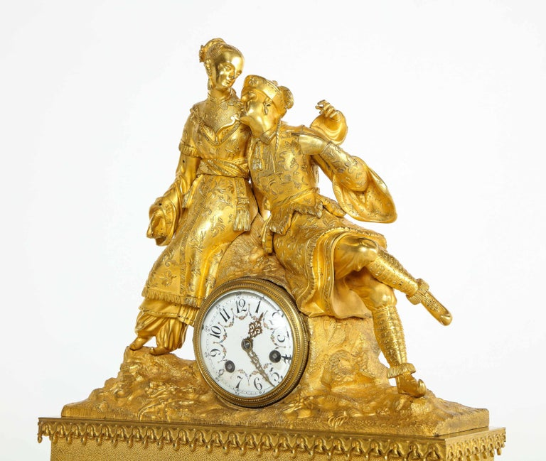 Exquisite French Charles X Ormolu Chinoiserie Figural Table Clock For Sale 14