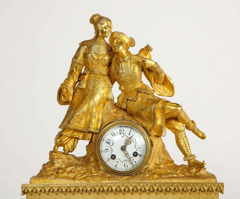 19th Century Exquisite French Charles X Ormolu Chinoiserie Figural Table Clock For Sale