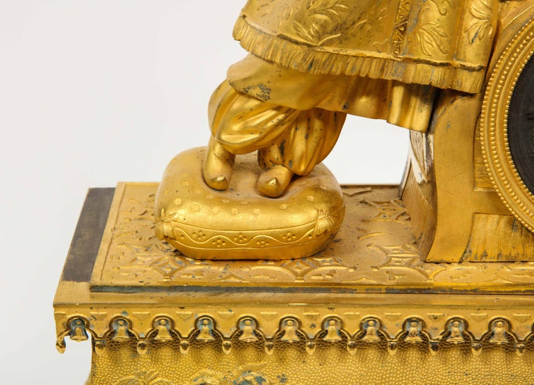 Exquisite French Charles X Ormolu Chinoiserie Figural Table Clock For Sale 1