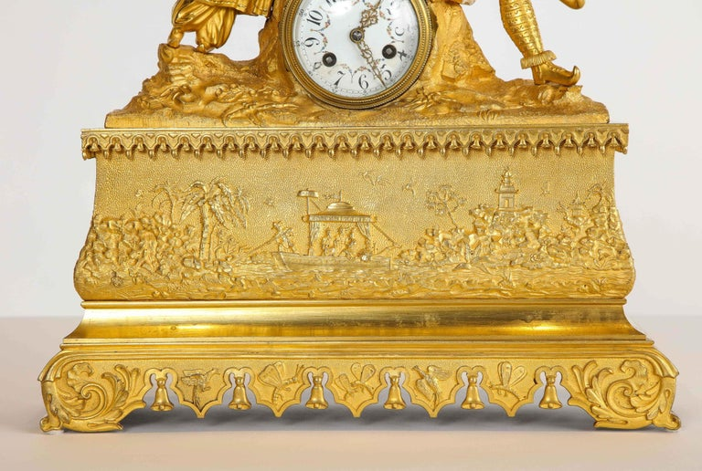Bronze Exquisite French Charles X Ormolu Chinoiserie Figural Table Clock For Sale